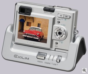 Casio's Exilim Zoom EX-Z3 digital camera. Courtesy of Casio, with modifications by Michael R. Tomkins. Click for a bigger picture!