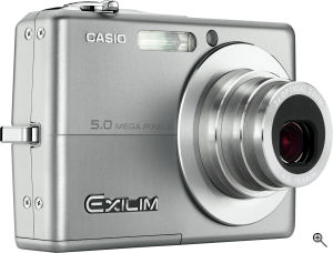 Casio's EXILIM EX-Z500 digital camera. Courtesy of Casio, with modifications by Michael R. Tomkins. Click for a bigger picture!