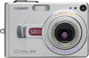 Casio's EXILIM EX-Z50 digital camera. Courtesy of Casio, with modifications by Michael R. Tomkins. Click for a bigger picture!