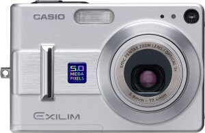 Casio's EXILIM EX-Z55 digital camera. Courtesy of Casio, with modifications by Michael R. Tomkins. Click for a bigger picture!