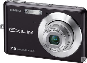 Casio's EXILIM CARD EX-Z77 digital camera. Courtesy of Casio, with modifications by Michael R. Tomkins. Click for a bigger picture!