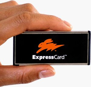 ExpressCard/34 card. Courtesy of the Personal Computer Memory Card International Association, with modifications by Michael R. Tomkins.