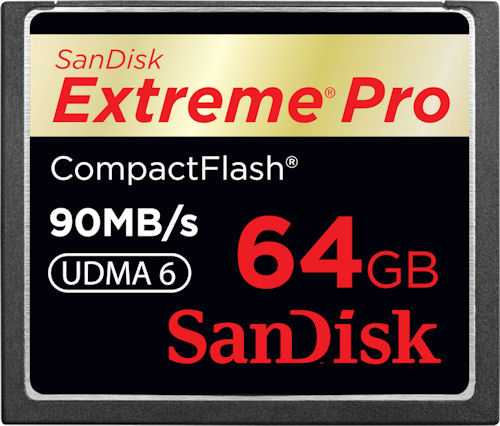 SanDisk's 64GB Extreme Pro CompactFlash card. Photo provided by SanDisk Corp. Click for a bigger picture!