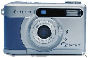 Kyocera's EZ Digital 1.3 digital camera, front  view. Courtesy of Kyocera Optics Inc. with modifications by Michael R. Tomkins. Click for a bigger picture!