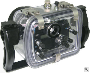 Fantasea Line's F350D waterproof camera housing. Courtesy of Fantasea Line, with modifications by Michael R. Tomkins. Click for a bigger picture!