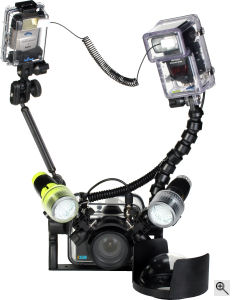 Fantasea Line's F350D waterproof camera housing and related accessories. Courtesy of Fantasea Line, with modifications by Michael R. Tomkins. Click for a bigger picture!