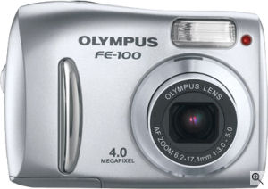 Olympus' FE-100 digital camera. Courtesy of Olympus, with modifications by Michael R. Tomkins. Click for a bigger picture!