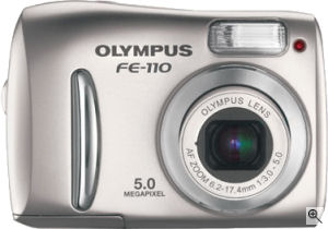 Olympus' FE-110 digital camera. Courtesy of Olympus, with modifications by Michael R. Tomkins. Click for a bigger picture!
