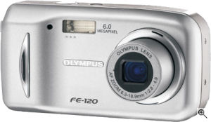 Olympus' FE-120 digital camera. Courtesy of Olympus, with modifications by Michael R. Tomkins. Click for a bigger picture!
