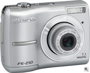 Olympus' FE-210 digital camera. Courtesy of Olympus, with modifications by Michael R. Tomkins. Click for a bigger picture!
