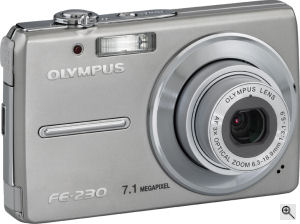 Olympus' FE-230 digital camera. Courtesy of Olympus, with modifications by Michael R. Tomkins. Click for a bigger picture!
