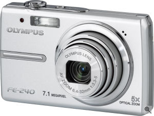 Olympus' FE-240 digital camera. Courtesy of Olympus, with modifications by Michael R. Tomkins. Click for a bigger picture!