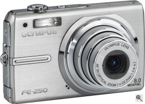 Olympus' FE-250 digital camera. Courtesy of Olympus, with modifications by Michael R. Tomkins. Click for a bigger picture!