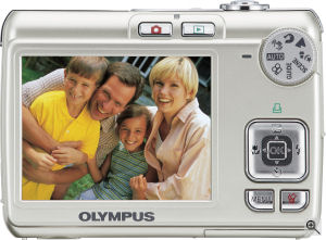 Olympus' FE-270 digital camera. Courtesy of Olympus, with modifications by Michael R. Tomkins. Click for a bigger picture!
