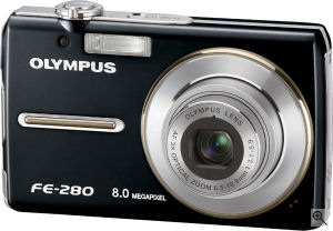 Olympus' FE-280 digital camera. Courtesy of Olympus, with modifications by Michael R. Tomkins. Click for a bigger picture!