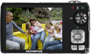 Olympus' FE-290 digital camera. Courtesy of Olympus, with modifications by Michael R. Tomkins. Click for a bigger picture!
