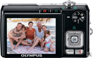 Olympus' FE-300 digital camera. Courtesy of Olympus, with modifications by Michael R. Tomkins. Click for a bigger picture!
