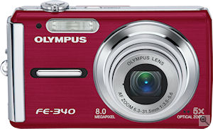 Olympus' FE-340 digital camera. Courtesy of Olympus, with modifications by Michael R. Tomkins. Click for a bigger picture!