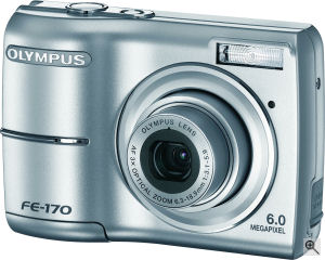 Olympus' FE-170 digital camera. Courtesy of Olympus, with modifications by Michael R. Tomkins. Click for a bigger picture!