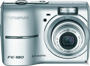 Olympus' FE-180 digital camera. Courtesy of Olympus, with modifications by Michael R. Tomkins. Click for a bigger picture!
