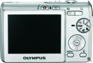 Olympus' FE-190 digital camera. Courtesy of Olympus, with modifications by Michael R. Tomkins. Click for a bigger picture!