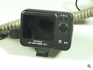 Contax's FE1 viewfinder. Copyright (c) 2001, Michael R. Tomkins, all rights reserved. Click for a bigger picture!