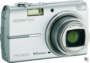 Olympus' FE-200 digital camera. Courtesy of Olympus, with modifications by Michael R. Tomkins. Click for a bigger picture!