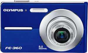 Olympus' FE-360 digital camera. Courtesy of Olympus, with modifications by Michael R. Tomkins. Click for a bigger picture!