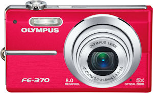 Olympus' FE-370 digital camera. Courtesy of Olympus, with modifications by Michael R. Tomkins. Click for a bigger picture!