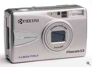 Kyocera's Finecam S3 digital camera, front right quarter view. Courtesy of Kyocera - click for a bigger picture!