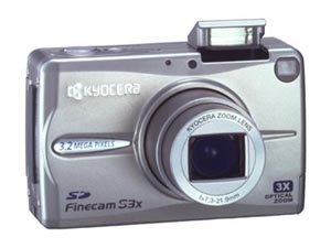 Kyocera's FineCam S3X (silver). Courtesy of Kyocera Corp., with modifications by Michael R. Tomkins.