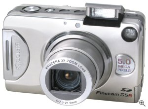 Kyocera's Finecam S5R digital camera. Courtesy of Kyocera, with modifications by Michael R. Tomkins. Click for a bigger picture!