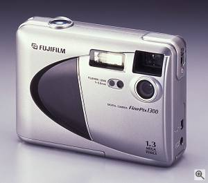 Fuji's FinePix 1300 digital camera, front left quarter view. Courtesy of Fuji Photo Film U.S.A. Inc. - click for a bigger picture!