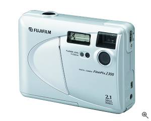 Fuji's FinePix 2300 digital camera, front left  quarter view. Courtesy of Fuji - click for a bigger picture!