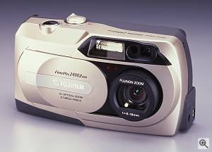Fuji's FinePix 2400 ZOOM digital camera, front left quarter view. Courtesy of Fuji Photo Film U.S.A. Inc. - click for a bigger picture!