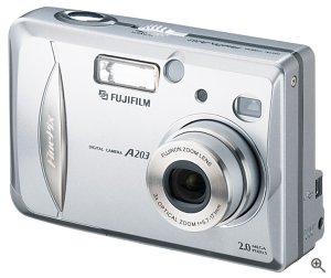 Fuji's FinePix A203 digital camera. Courtesy of Fuji Photo Film USA Inc., with modifications by Michael R. Tomkins.