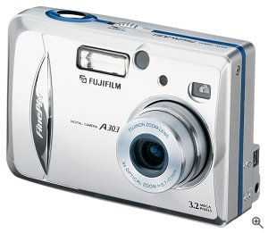 Fuji's FinePix A303 digital camera. Courtesy of Fuji Photo Film USA Inc., with modifications by Michael R. Tomkins.