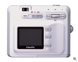 Fuji's FinePix F401 digital camera. Courtesy of Fuji USA, with modifications by Michael R. Tomkins.