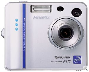 Fuji's FinePix F410 digital camera. Courtesy of Fuji, with modifications by Michael R. Tomkins. Click for a bigger picture!