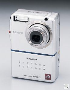 Fuji's FinePix M603 digital camera. Courtesy of FujiFilm Germany, with modifications by Michael R. Tomkins. Click for a bigger picture!