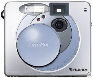 Fuji's FinePix 30i digital camera, front view. Courtesy of Fuji, with modifications by Michael R. Tomkins.