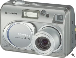 Fuji's FinePix A205 digital camera. Courtesy of Fuji, with modifications by Michael R. Tomkins. Click for a bigger picture!