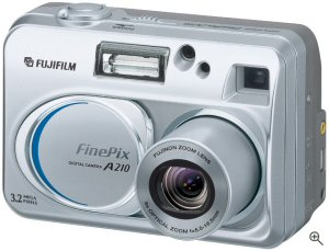 Fujifilm's FinePix A210 Zoom digital camera. Courtesy of Fuji, with modifications by Michael R. Tomkins. Click for a bigger picture!