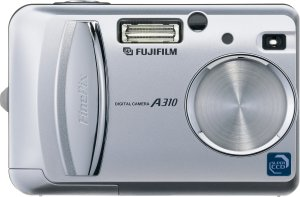 Fuji's FinePix A310 digital camera. Courtesy of Fujifilm Germany, with modifications by Michael R. Tomkins. Click for a bigger picture!