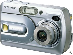 Fujifilm's FinePix A340 digital camera. Courtesy of Fujifilm, with modifications by Michael R. Tomkins. Click for a bigger picture!