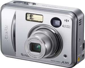 Fujifilm's FinePix A345 digital camera. Courtesy of Fujifilm, with modifications by Michael R. Tomkins. Click for a bigger picture!
