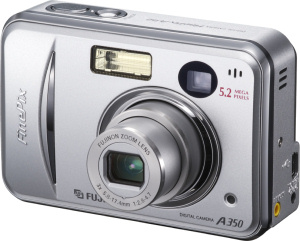 Fujifilm's FinePix A350 digital camera. Courtesy of Fujifilm, with modifications by Michael R. Tomkins. Click for a bigger picture!