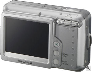 Fujifilm's FinePix A600 digital camera. Courtesy of Fujifilm, with modificatioms by Michael R. Tomkins. Click for a bigger picture!