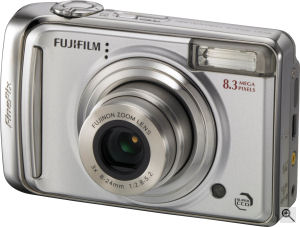Fujifilm's FinePix A800 digital camera. Courtesy of Fujifilm, with modifications by Michael R. Tomkins. Click for a bigger picture!