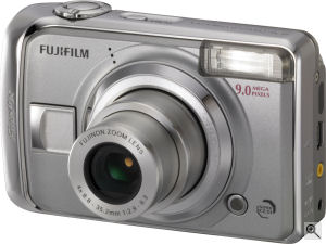 Fujifilm's FinePix A900 digital camera. Courtesy of Fujifilm, with modifications by Michael R. Tomkins. Click for a bigger picture!